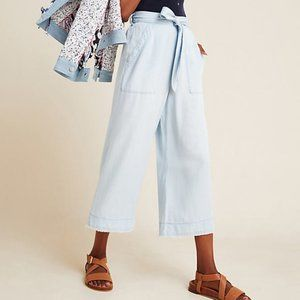 Anthro Cloth&Stone Wide leg cropped chambray pants